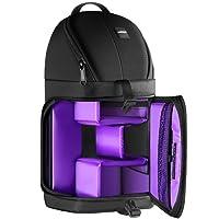 Neewer Professionel Sac de Storage pour Caméra Durable Imperméable et Inusable Noir Housse Sac à Dos Étui pour Appareil Photo Reflex Numérique, Objectif et Accessoires NW-XJB02S (Violet Intérieur)