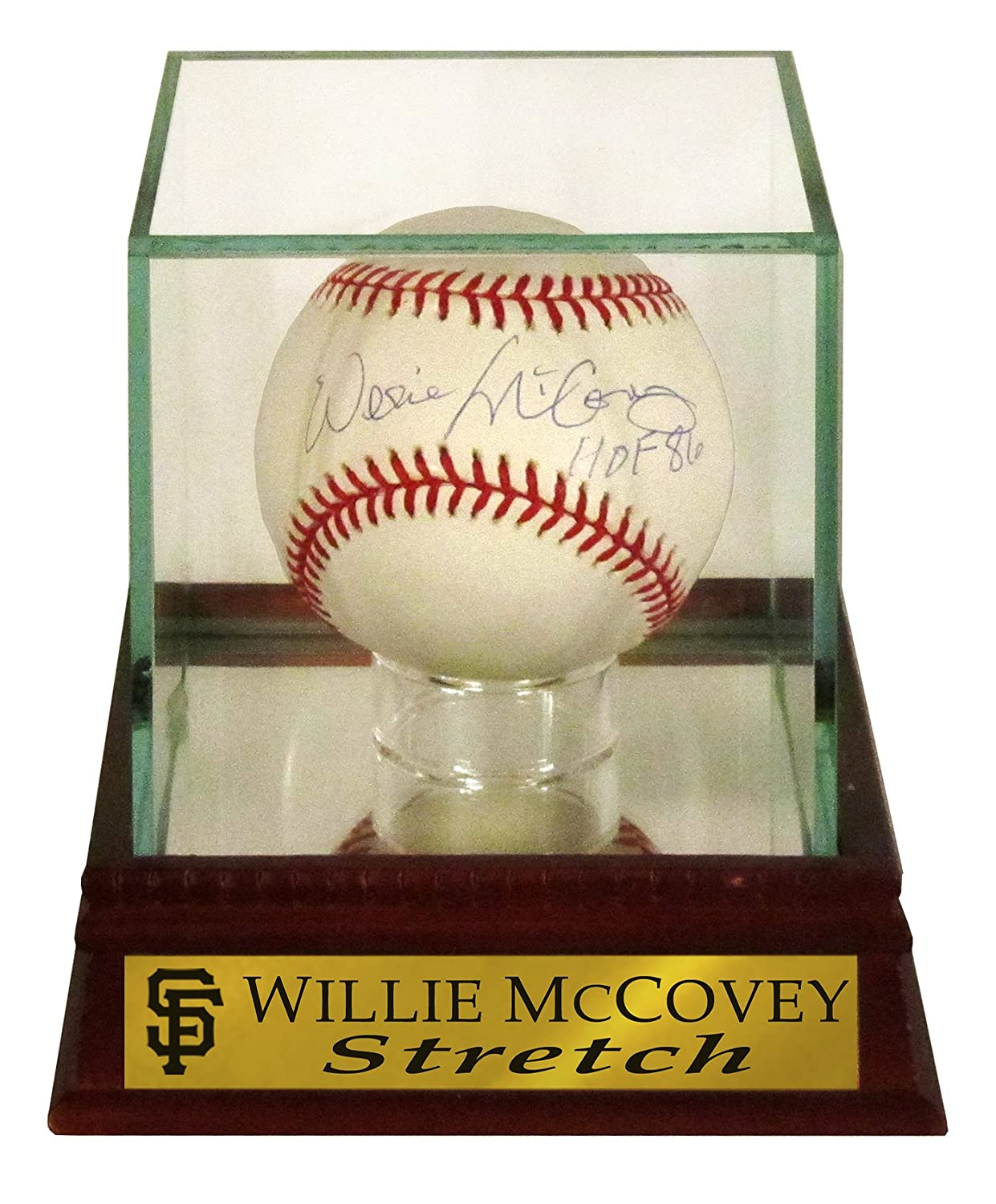 "SF Giants Willie McCovey Autographed Official MLB Baseball with ""HOF 86"" Inscription with ""Stretch"" Case (COA) Sports Gallery Authenticated"
