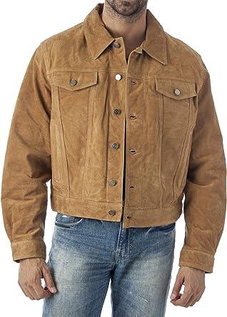 Men/'s Suede Leather Western Jacket Classic Denim Style Shirt Jacket New US