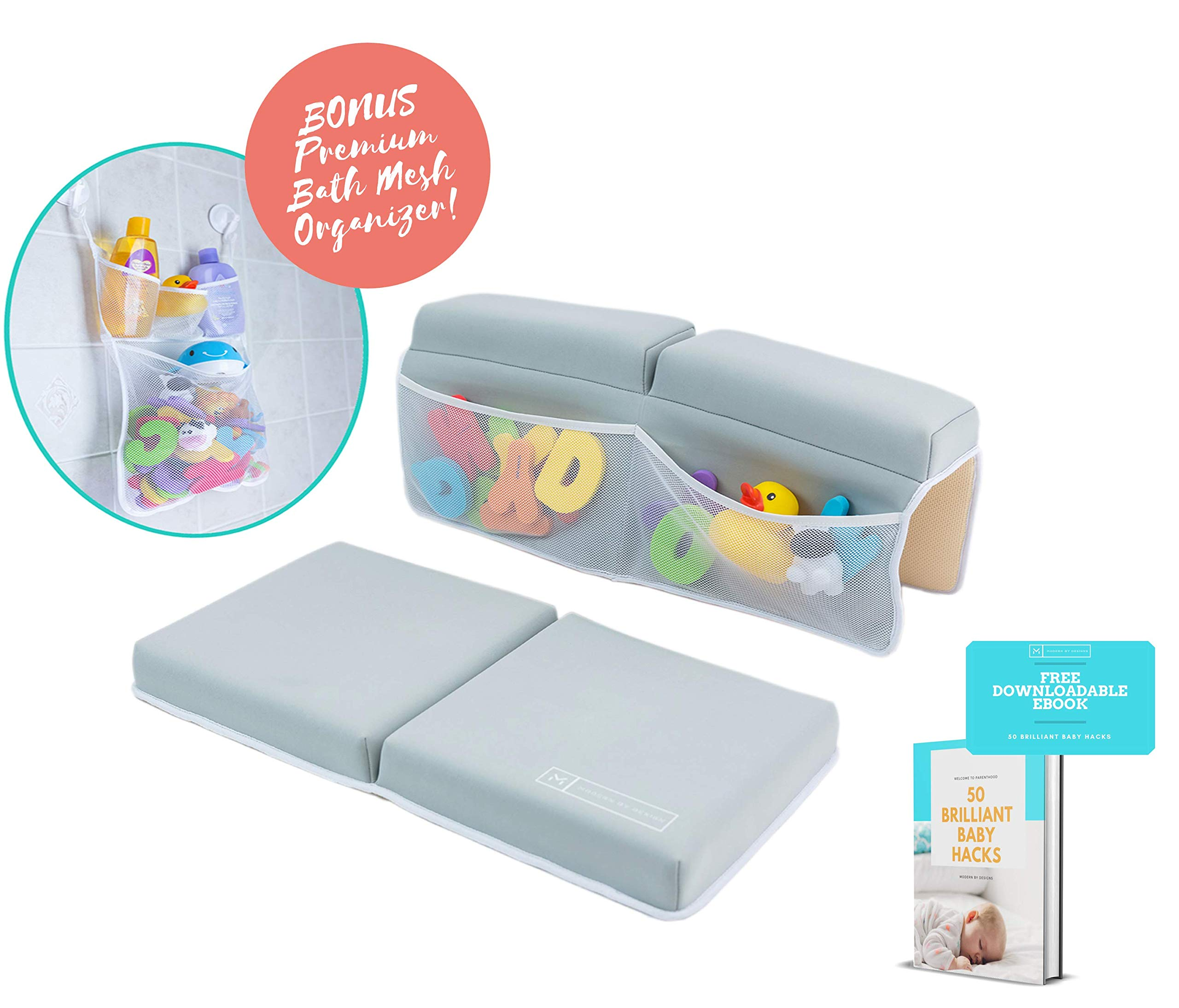 Bath Kneeler and Elbow Rest Set |Thick Cushioned, Quick Dry Non-Slip Knee and Elbow Support. Extra Large Pockets with Strong Suction Cups. Bonus Bath Toy mesh Organizer with 2 Heavy Duty Suction Cups by Modern by Designs