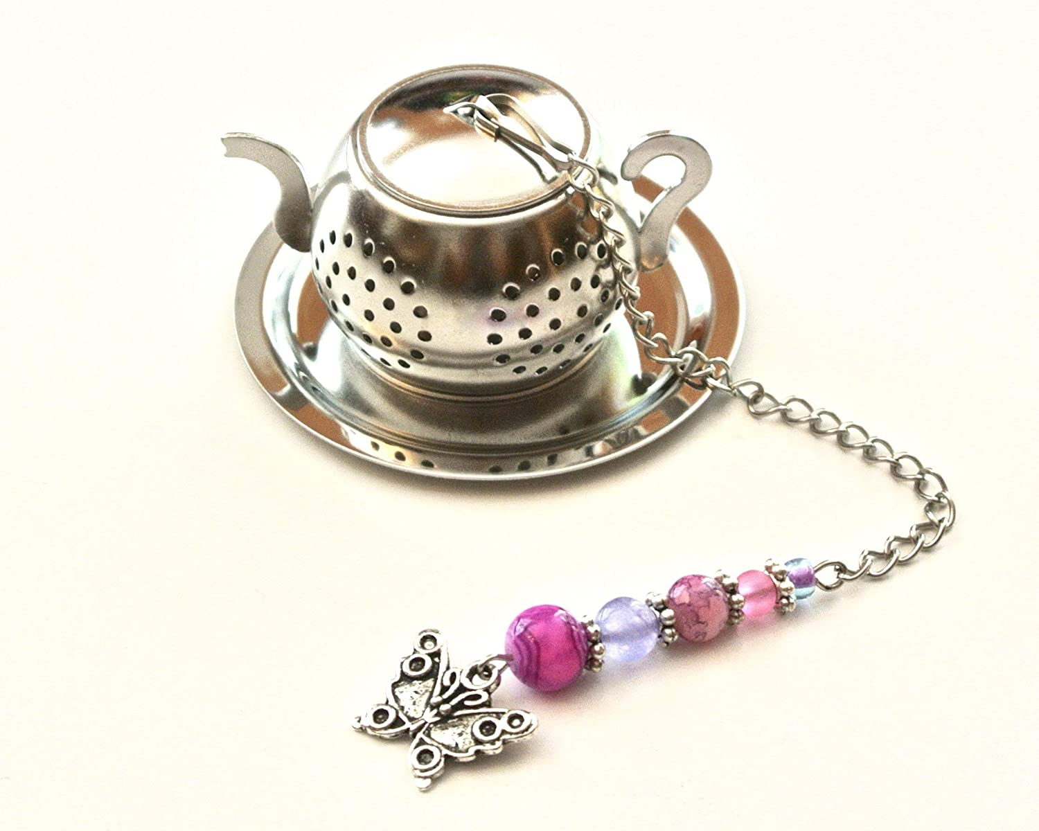 Butterfly Tea Infuser with Pink & Purple Beads