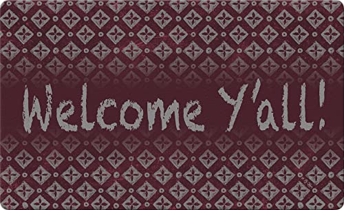 Toland Home Garden Chalk Diamonds Welcome Maroon 18 x 30 Inch Decorative Y all Country Doormat