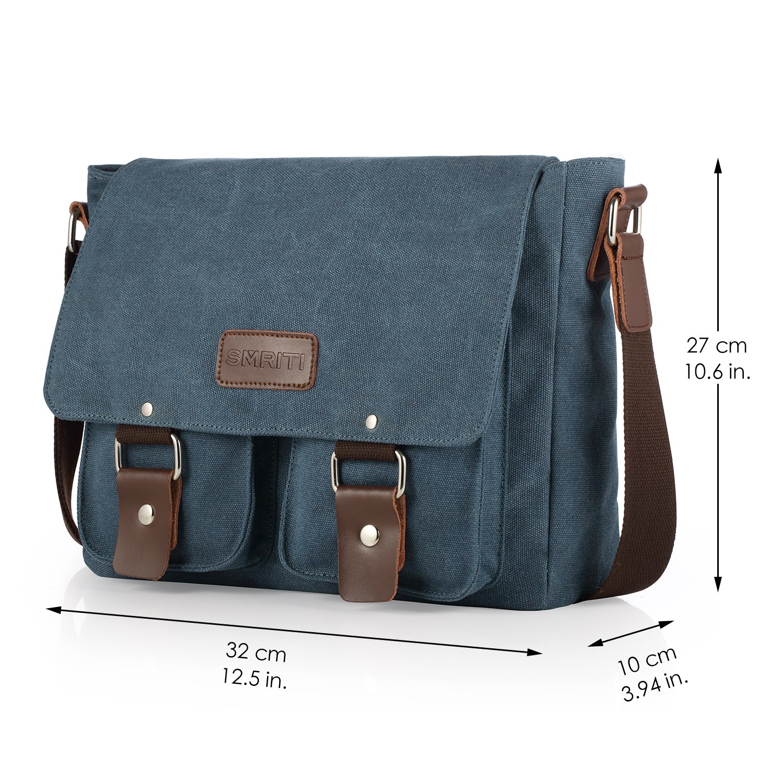 SMRITI Canvas Messenger Bag Laptop Satchel for School 12-Inch - Blue  Amazon.ca   Sports   Outdoors 0075630477c49