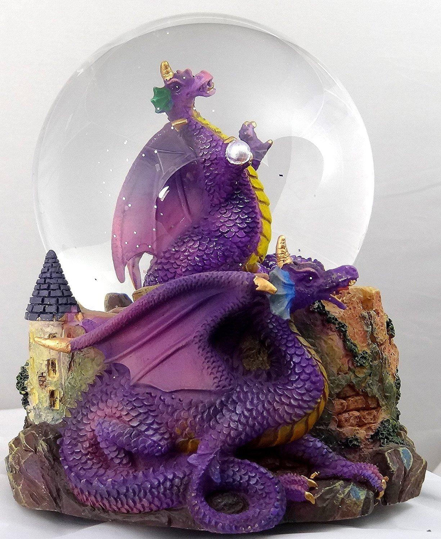 超歓迎された パープルドラゴンClutchingクリスタルwith Castle/ Snow Snow Globe – Sculptured樹脂水ボール音楽ボックス5 3/ Globe 4