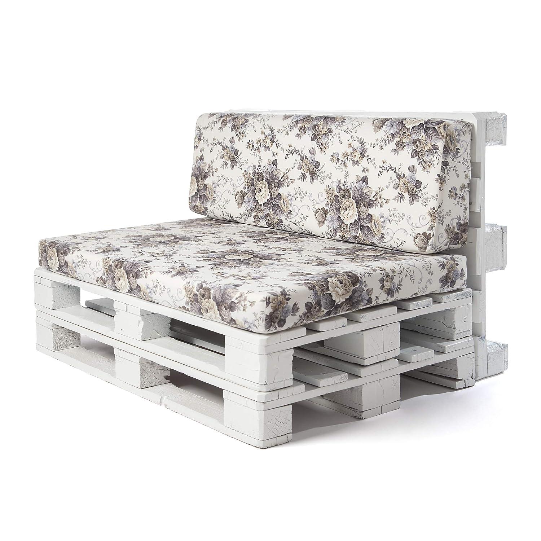 SUENOSZZZ - Conjunto colchoneta para Sofas de Palet y Respaldo (1 x Unidad) Cojin Relleno con Espuma. Loneta HP Botanico | Cojines para Chill out, ...