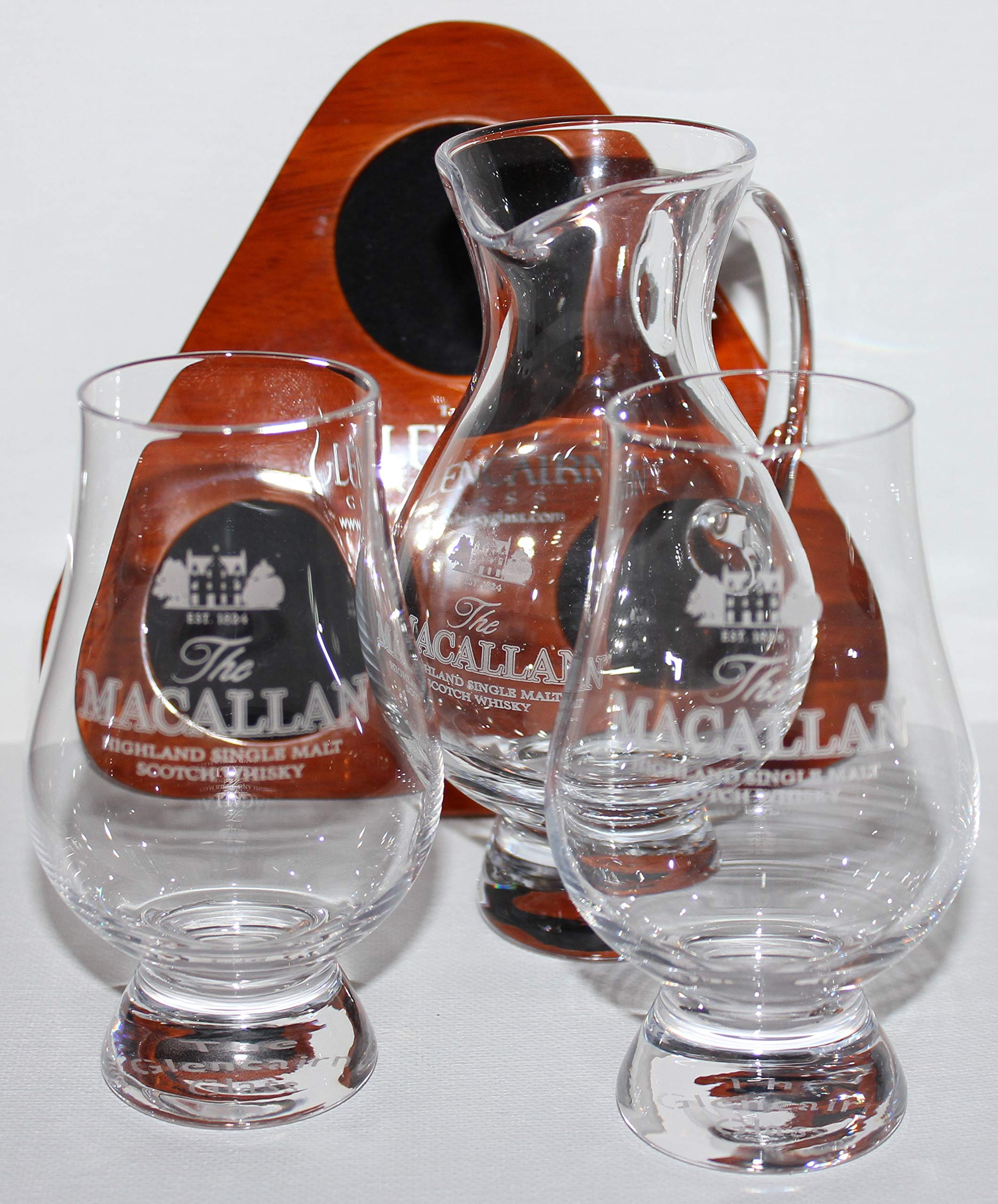 Macallan Glencairn Scotch Whisky Two Glass and Iona Water Pitcher Flight Tray Set by Glencairn (Image #1)