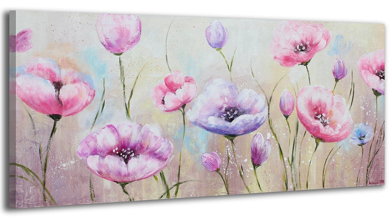 YS-Art Acryl Gemälde Blumen   Handgemalt   115x50cm   Wand Bild   Moderne Kunst   Leinwand   Unikat   Pink