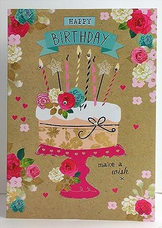 Carson Higham Female Gem Stones Birthday Cake Happy Card