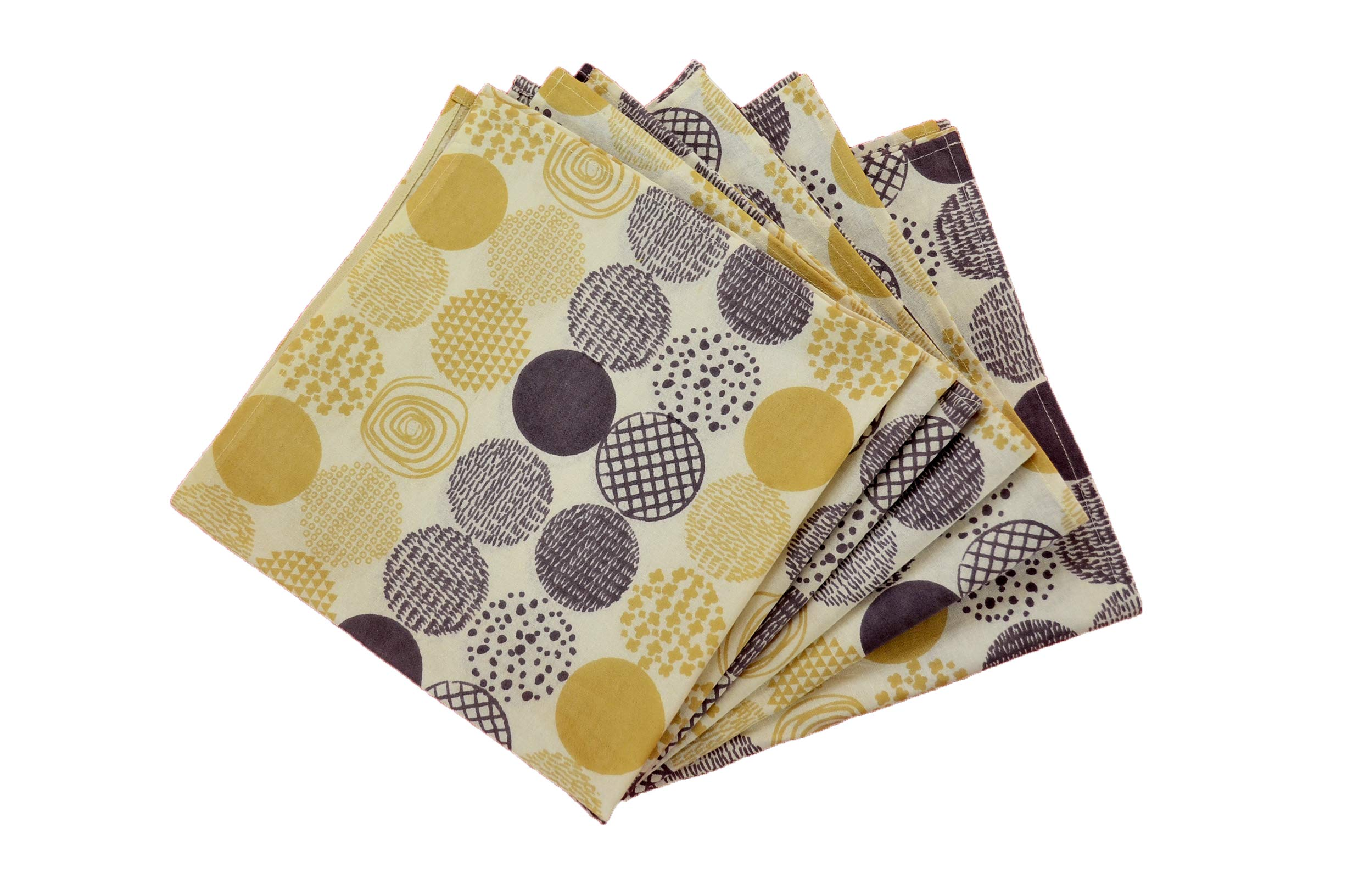 Jucos 100% Cotton Oversized Napkins, 20 X 20 inch Dinner Napkins Everyday Use -Set of 6, Printed Circular Design Beige & Brown