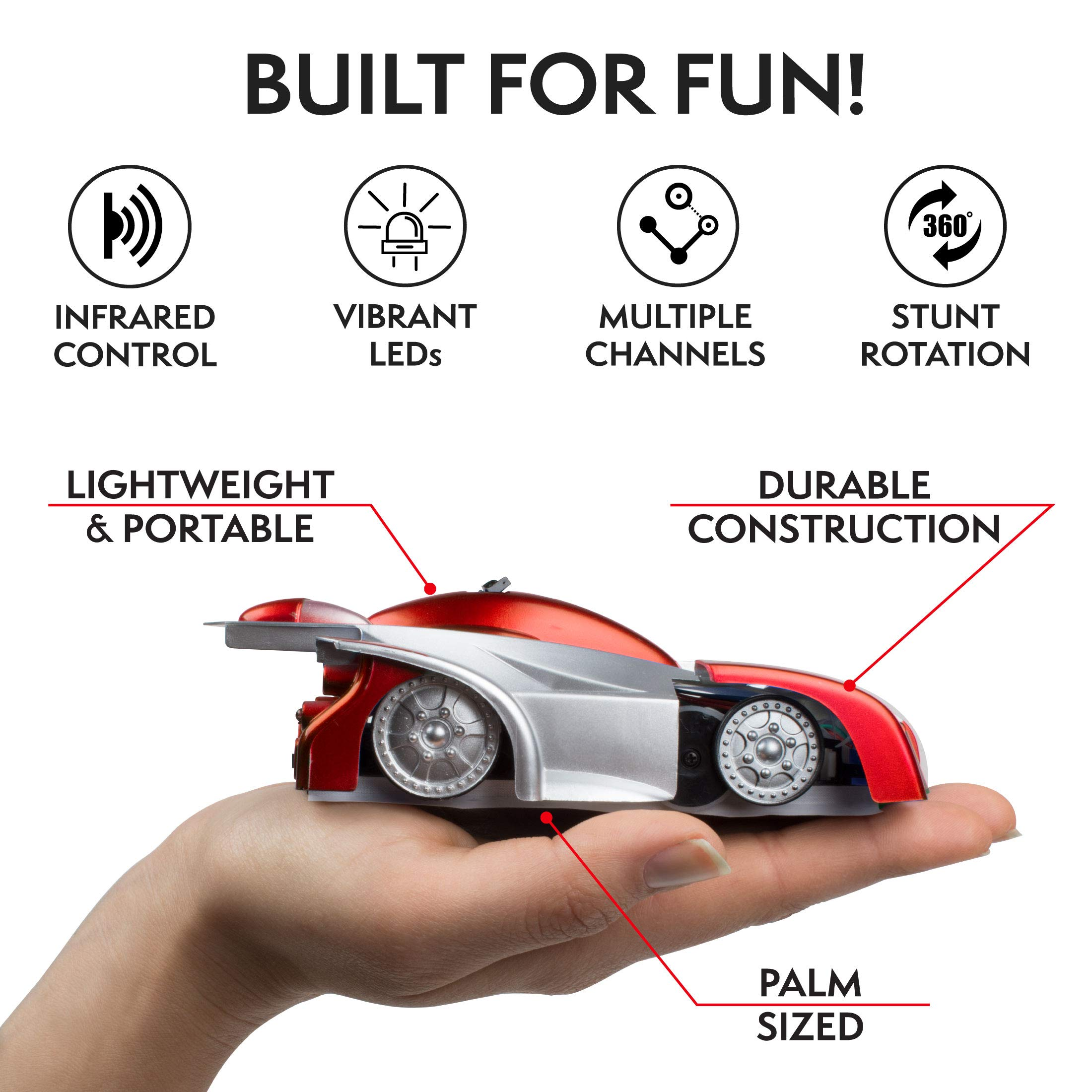 Force1 Remote Control Car Gravity Defying RC Car - RC Cars for Kids and Adults, Race Car Boys Toys for Floor or Wall w/ USB for Rechargeable Fast RC Car (Red) by Force1 (Image #4)