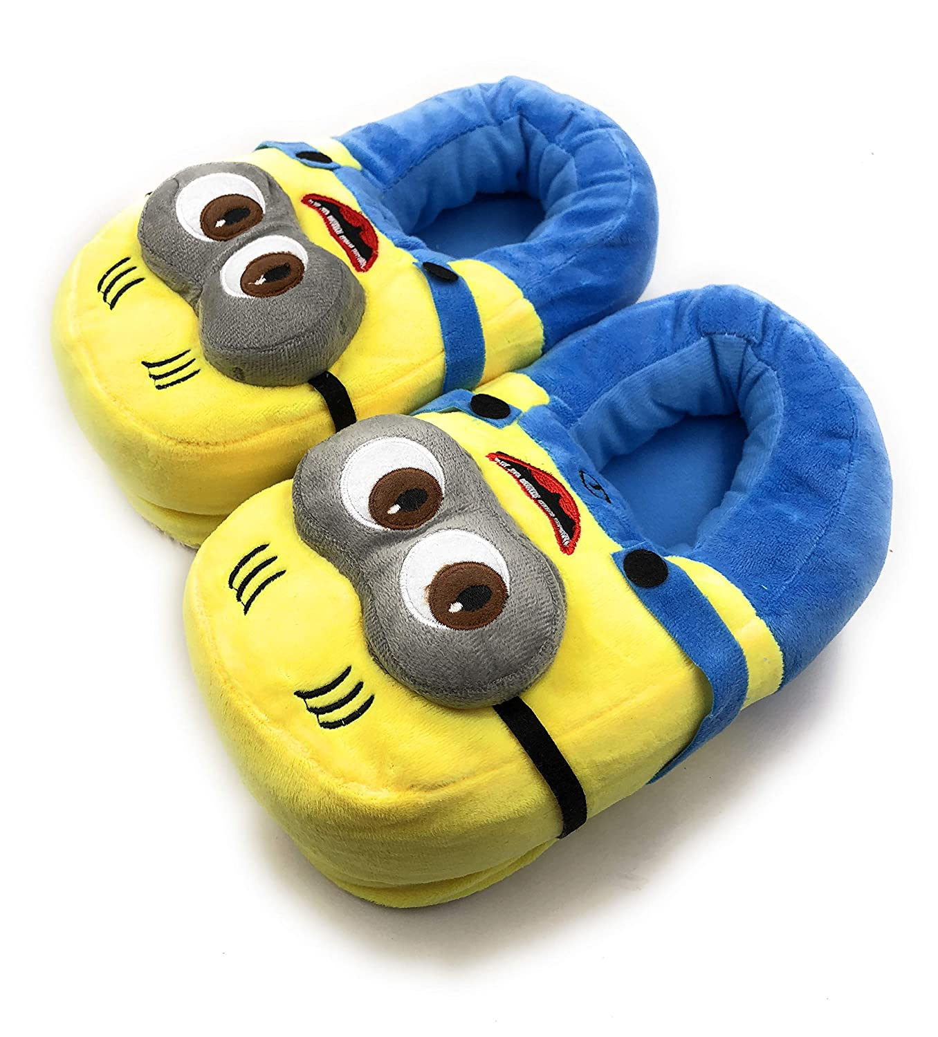 24x7 eMall Cute Plush Minion Shoes Free Size Indoor Slipper Funny Soft Plush for Adults Kids Teens Bedroom with Non-Skid Footpads Yellow