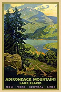 "Magnet 1920s Adirondack Lake Placid New York Vintage Style Travel Magnet Vinyl Magnetic Sheet for Lockers, Cars, Signs, Refrigerator 5"""