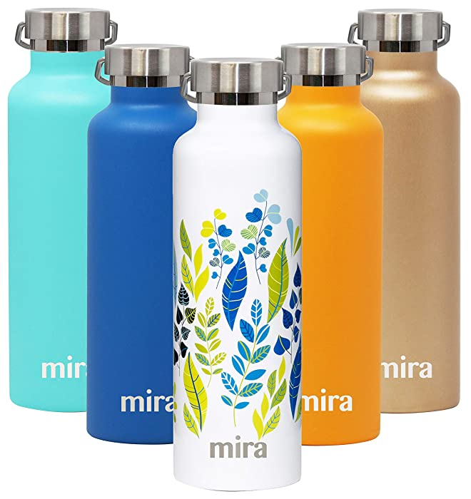 MIRA Alpine Stainless Steel Vacuum Insulated Water Bottle with 2 Lids, Sports Thermos Flask Keeps Cold 24 Hours, Hot 12 Hours (25 Ounce, Spring Leaves)
