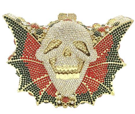 Nupcial Bolso Mujer Noche Bolsas Partido Carteras Brillo Mano Cristales Cadena Embrague Esqueletos de Murciélago Plateado