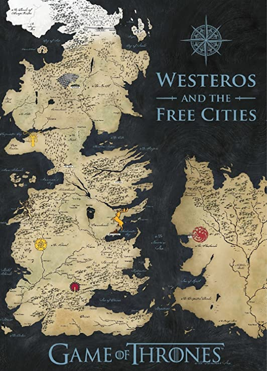 "Game Of Thrones Map of Westeros and the Free Cities  20x24/"" High Quality Print"