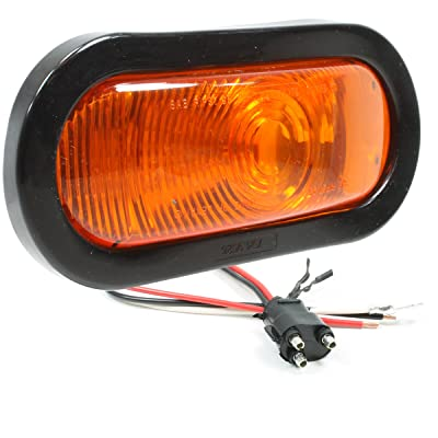 """Vehicle Safety Manufacturing 6054A Amber 6\"""" Oval Sealed Stop/Tail/Turn Signal Lamp (Red Lens, Grommet, and Harness): Automotive [5Bkhe1510712]"""