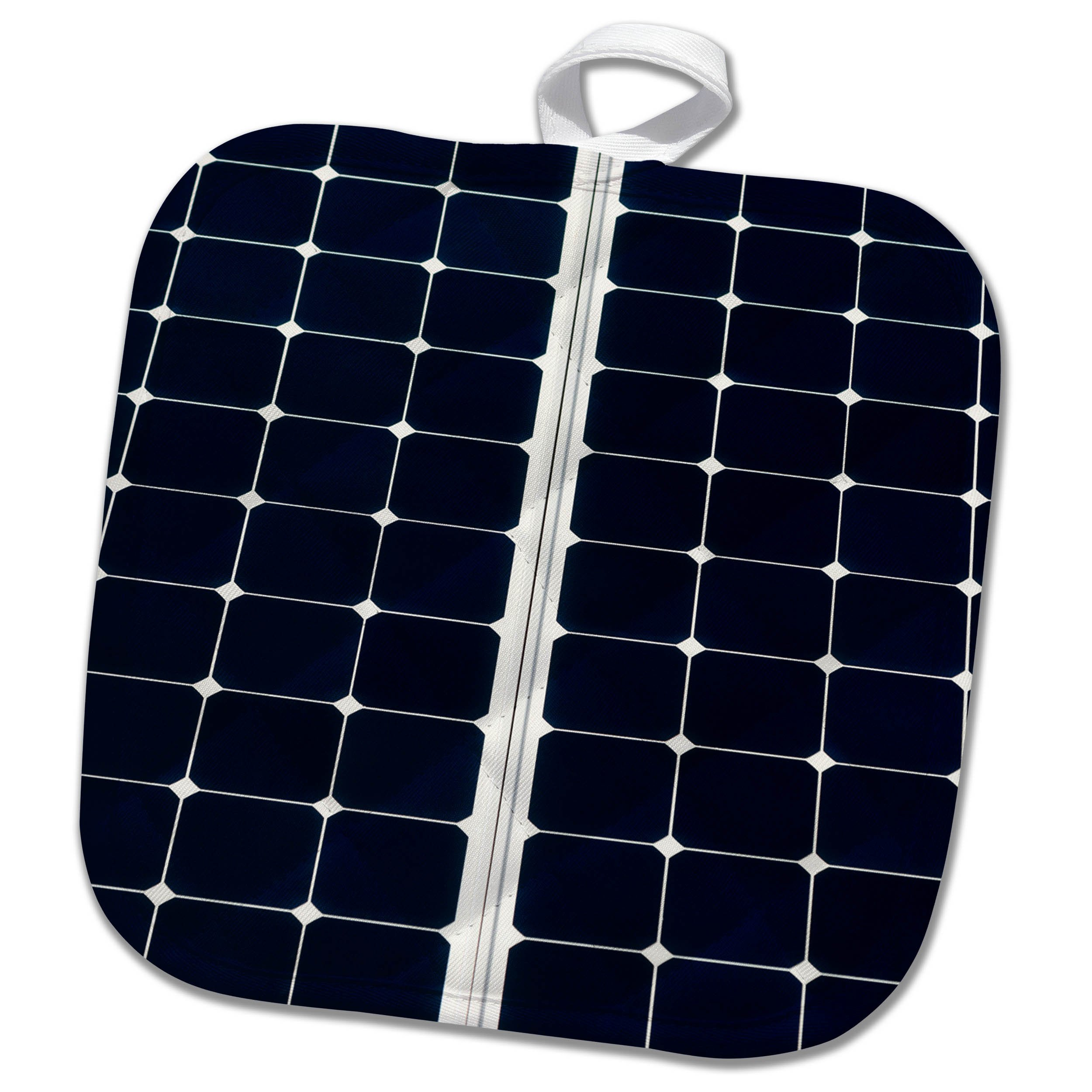 3dRose Alexis Photography - Objects - Dark blue solar power panel divided into two parts by white frame - 8x8 Potholder (phl_271344_1)