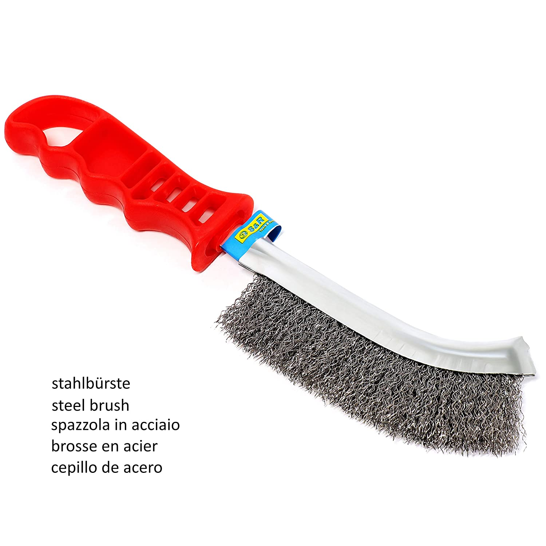 S/&R Hand Wire Brush Set 265mm // 125mm 3-Piece: 1 steel brush 10.4 // 5 1 stainless steel brush 1 brass brush