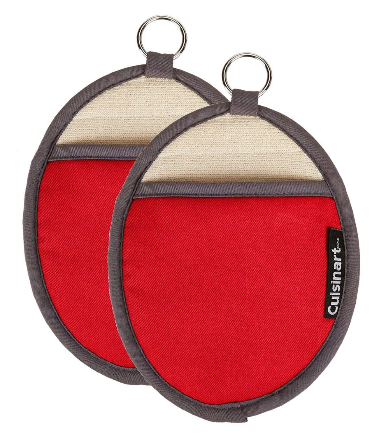 Cuisinart Silicone Oval Pot Holders and Oven Mitts - Heat Resistant, Handle Hot Oven / Cooking Items Safely - Soft Insulated Pockets, Non-Slip Grip and Convenient Hanging Loop- Red, Pack of 2 Mitts