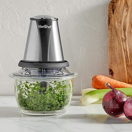 VonShef Mini Picadora de 400 W - 2 Velocidades con Recipiente de Vidrio de 1,2L - Procesador Compacto perfecto para ensaladas, sopa, salsa, pesto, pasta de curry y más: Amazon.es: Hogar