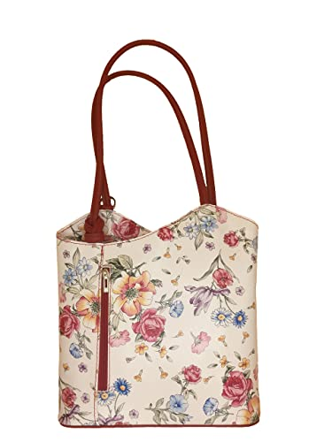 237255e3cf6963 Borse in Pelle Women's Backpack Grey blumenmuster rot: Amazon.co.uk ...
