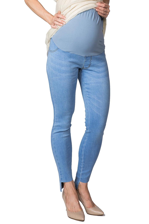 Sweet Mommy Maternity Super Stretch Vintage Denim Skinny Women's Jeans Step Hem Light Blue LL sp7040