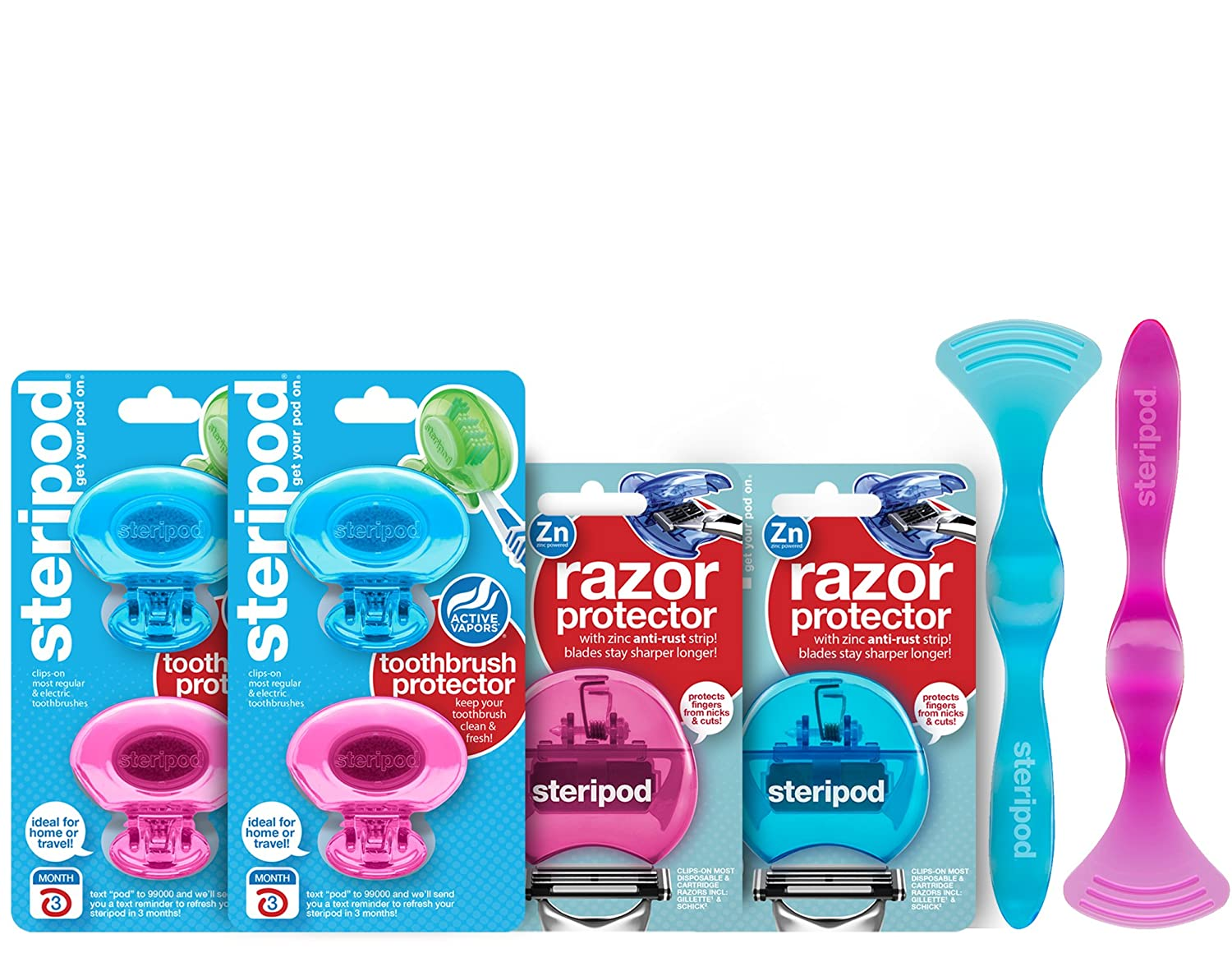 Steripod Kit For Men and Women: 4 Clip-On Toothbrush Protectors (2 Blue & 2 Pink), 2 Razor Protectors (Blue & Pink), 2 Tongue Cleaners (Blue & Pink) Bonfit America Inc
