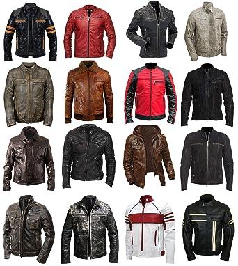 4af7d02d8 Mens Cafe Racer Brando Motorcycle Retro Biker Leather Jacket Collection
