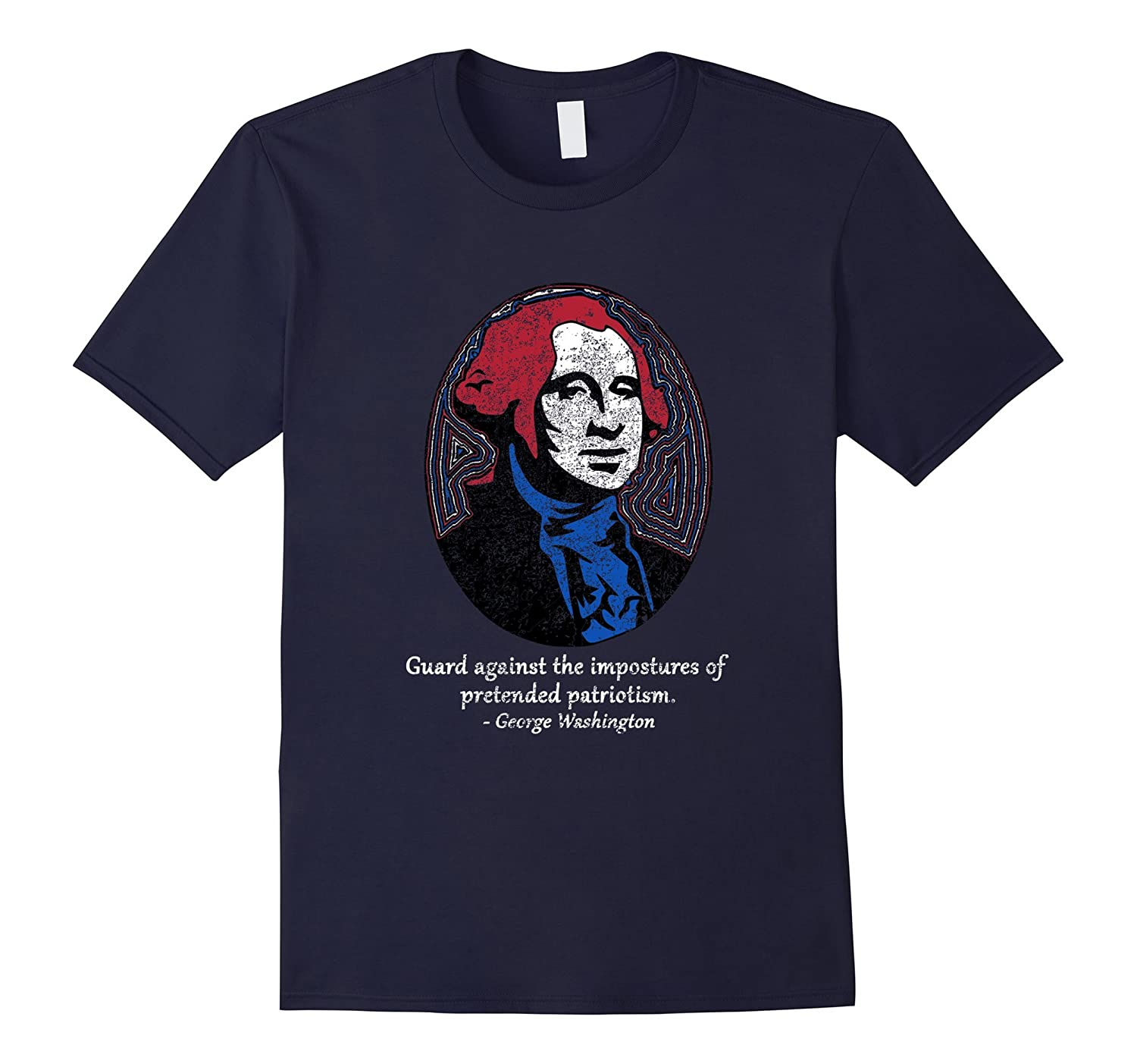 Distressed George Washington 4th of July Patriot T-shirt-TH
