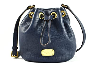 Michael Kors Jules Leather Drawstring Crossbody Handbag Navy ...