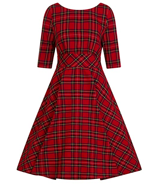 Hell Bunny Irvine Estilo Vintage AÑOS 50 Tartán Rojo Vestido - Rojo, UK 8 (
