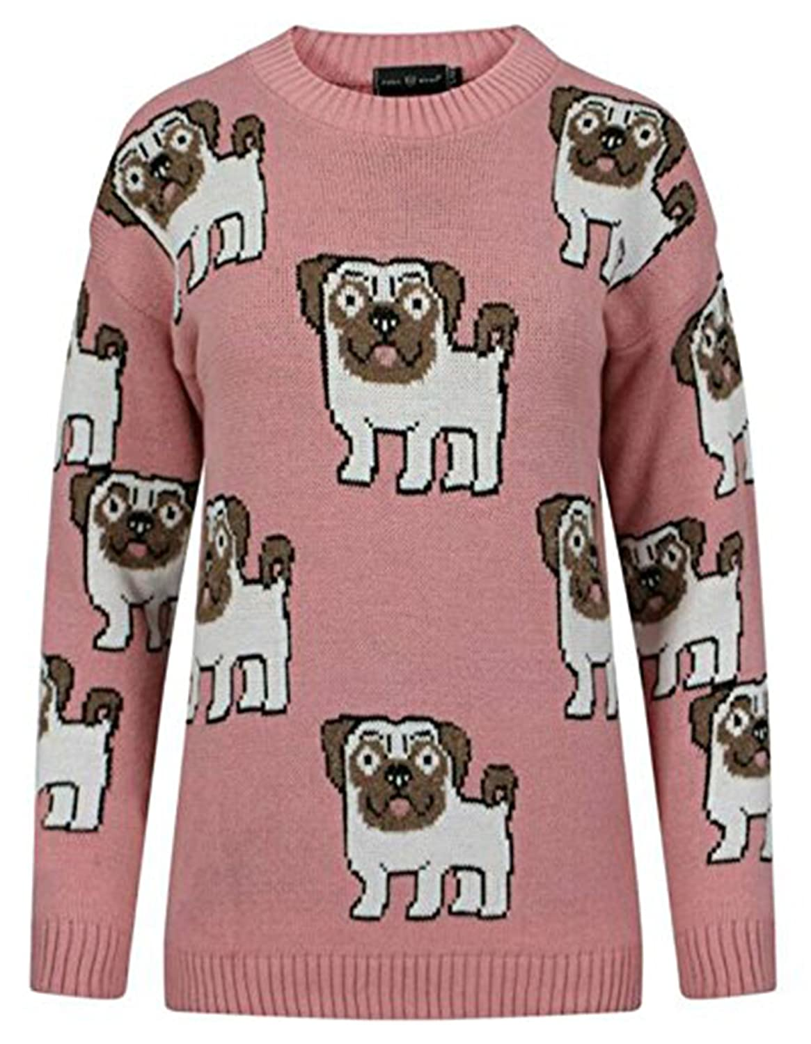 Womens Multi Pug Dog Printed Long Sleeves Jumper Sweater