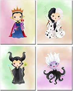 Disney Evil Queens Art Prints - Girl's Room Wall Decor Photos - Set of 4 (8 inches x 10 inches) Maleficent Ursula Cruella