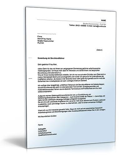 Anschreiben Bewerbung Berufskraftfahrer Word Dokument Download