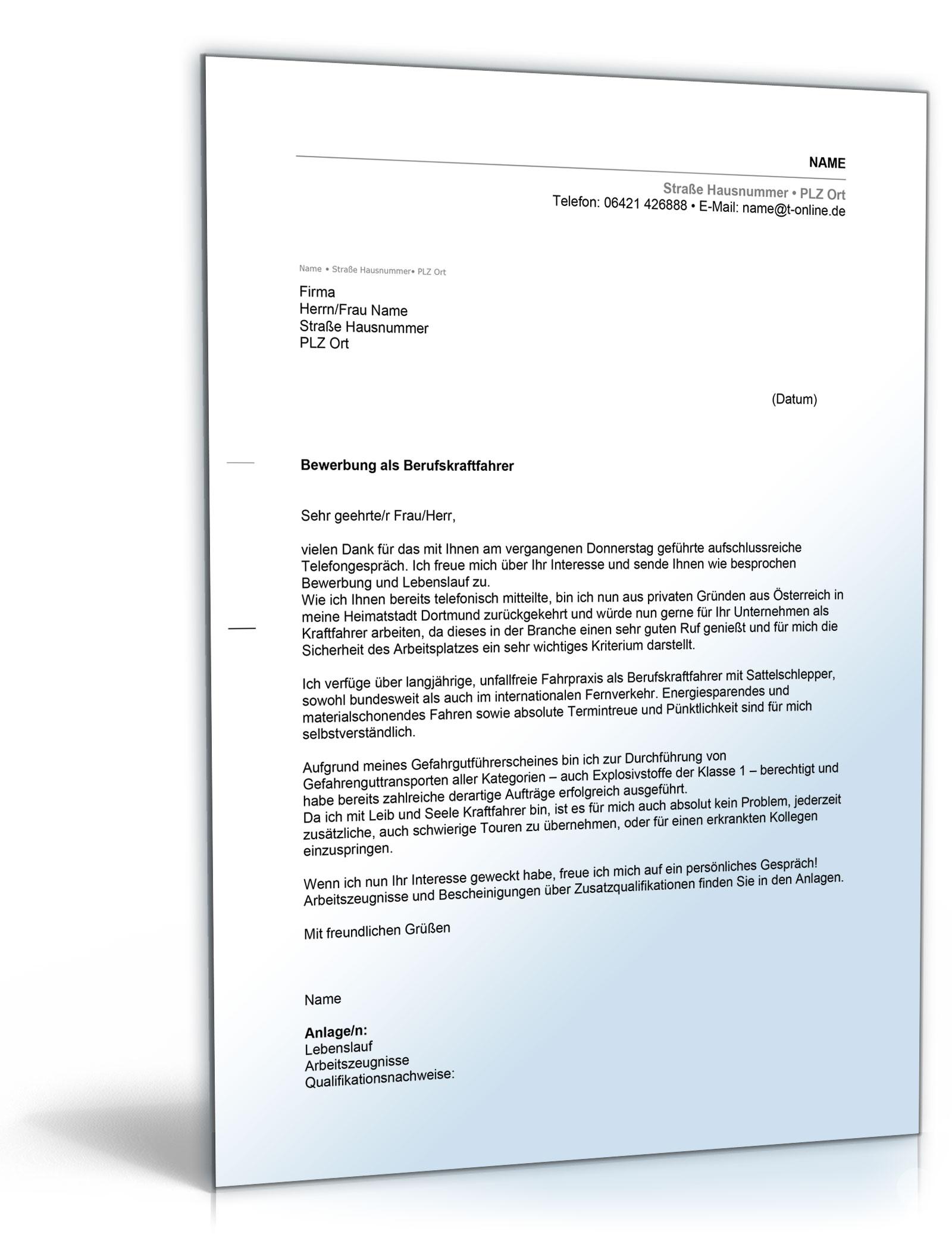 Anschreiben Bewerbung Berufskraftfahrer [Word Dokument]: Amazon.de
