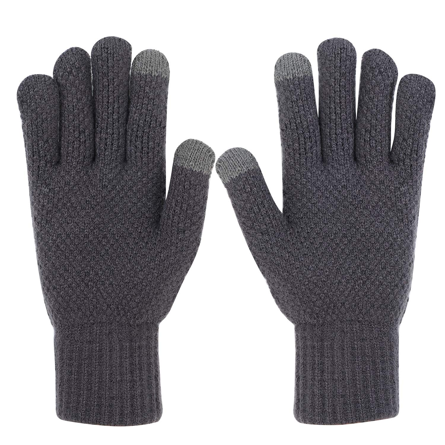 Mens Warm Touchscreen Gloves Thick Winter Knit Gloves with Wool Lining Texting LONTG