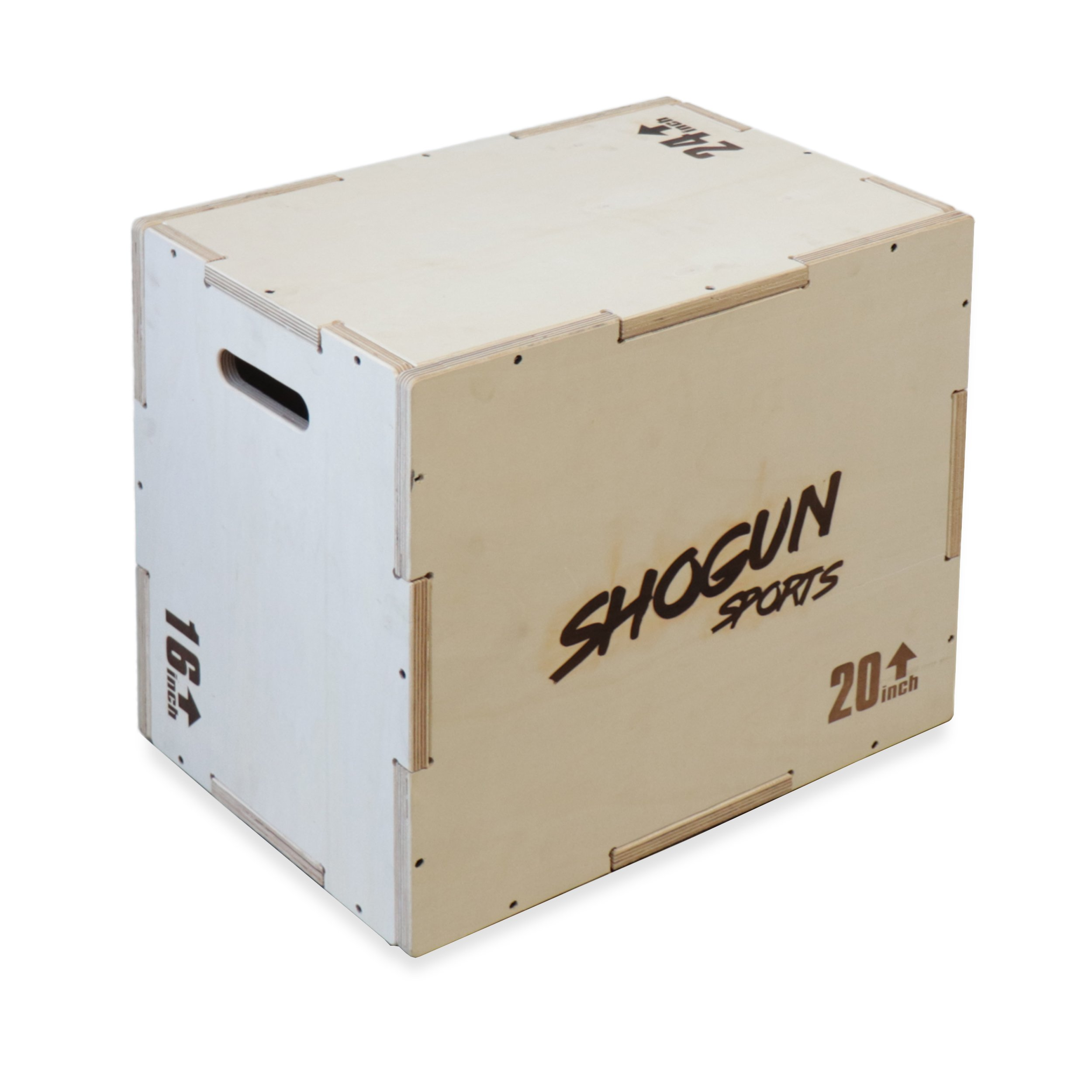 Shogun Sports 3 in 1 Wood Plyometric Box. Jump Box for Crossfit, MMA Conditioning and Strength Training. Available in 4 Sizes (30/24/20-24/20/16-20/18/16-16/14/12) (16/20/24)