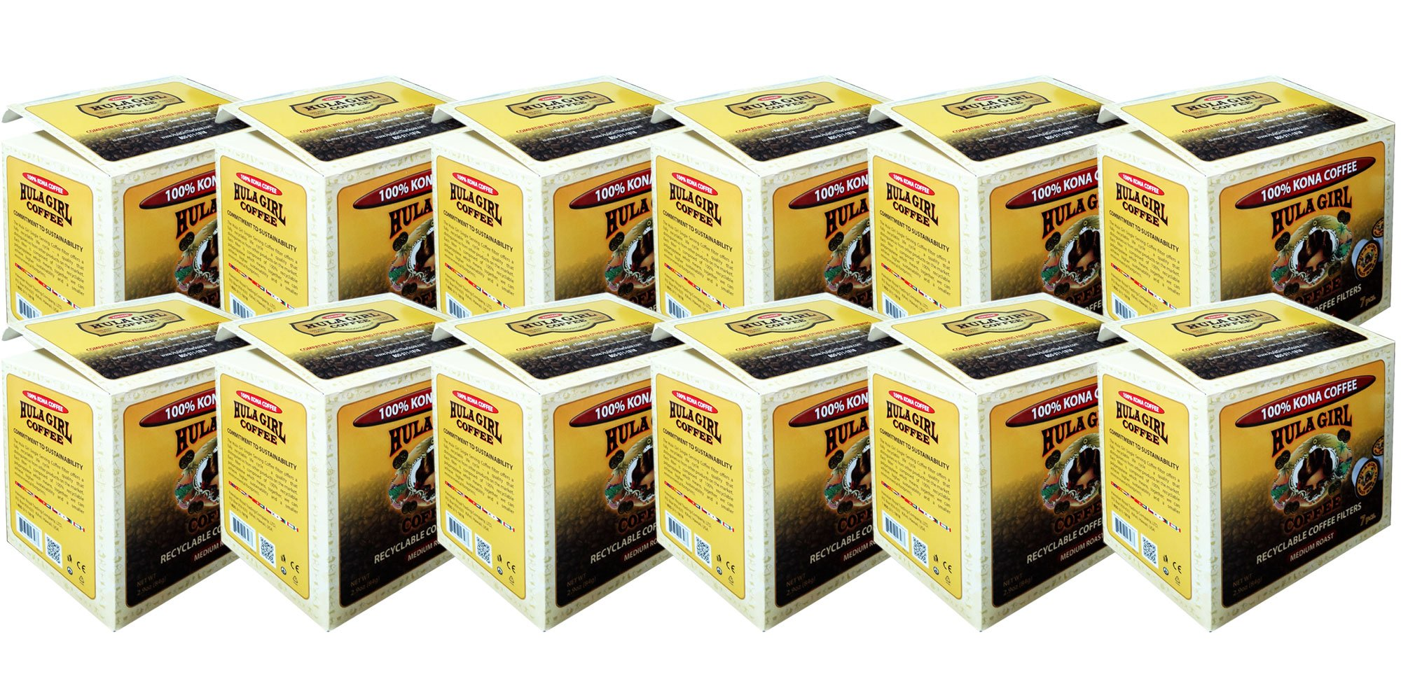Hula Girl 100% Kona Coffee Single Serving - K-Cup Recyclable Filter (Pack of 12)