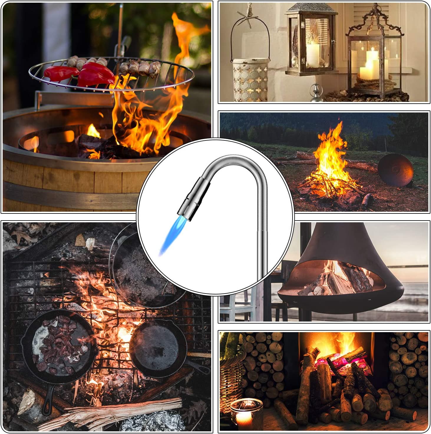 NO Butane PREFILLED Fire Lighter Jet Flame Butane Gas Windproof Refillable Long Reach Safety Igniter for Open Fires Gas Hob Stove Oven Wood Burners Fireplace Grills BBQ Cookers Camping Firework