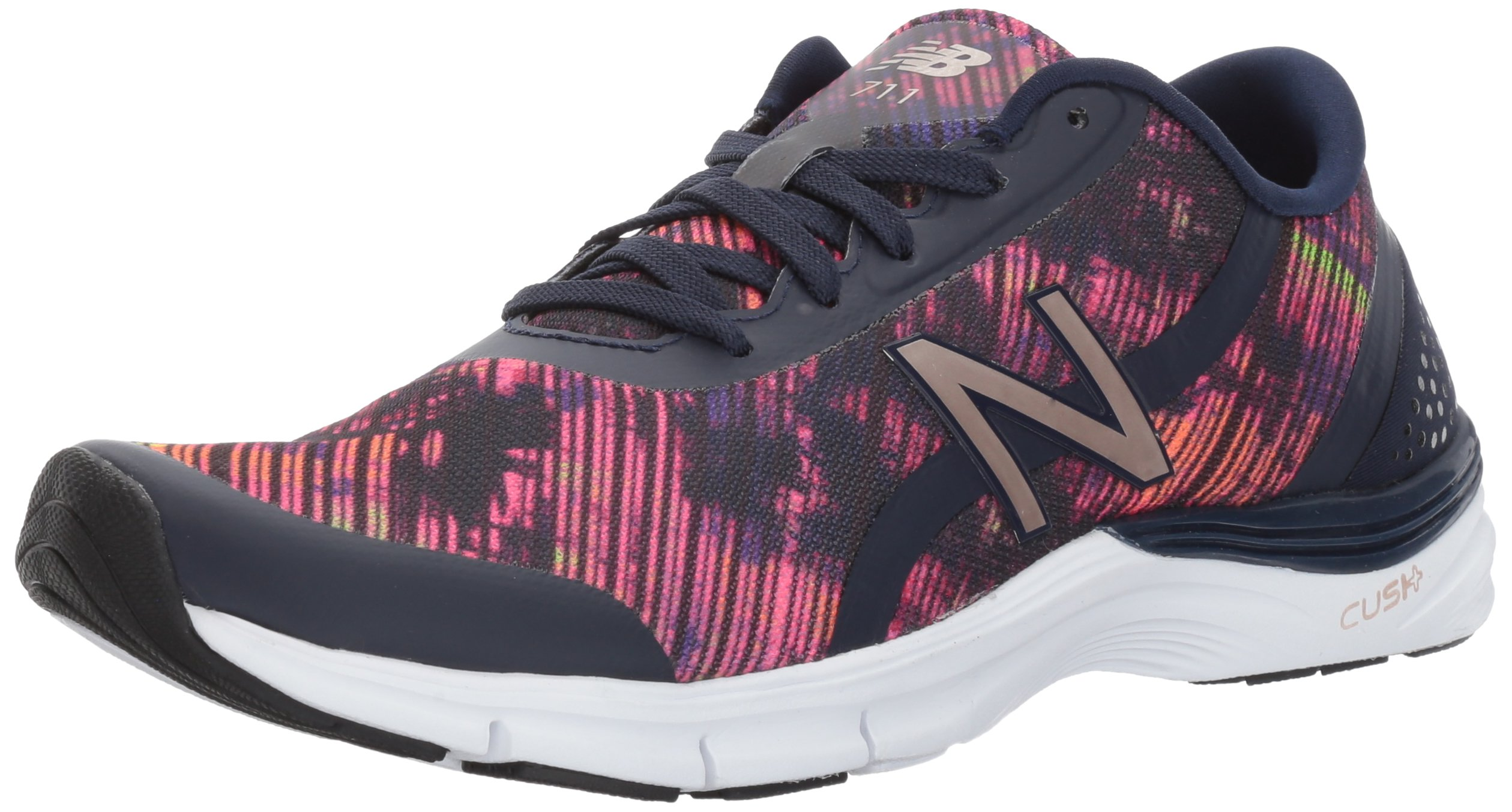 New Balance Women's 711V3 Graphic Cross Trainer, Pigment/Striped Velocity Graphic, 9 D US