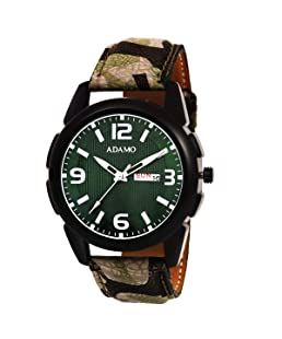 ADAMO Military Green Dial Day & Date Men's & Boy's Watch A333GN16