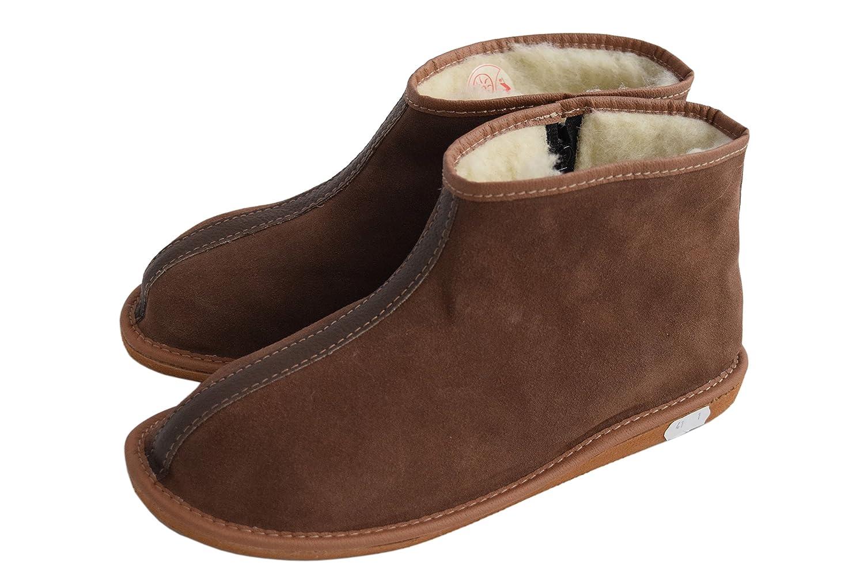 Damen Herren Unisex Natural Leder und Schafwolle ausgekleidet Hausschuhe Stiefel Größe 3-12, braun - Braun, Wildleder - Größe  38 EU