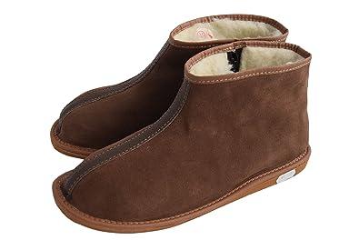 Natleat Slipers Damen Herren Unisex Natural Leder und Schafwolle Ausgekleidet Hausschuhe Stiefel Größe 3 WPC1Vq9