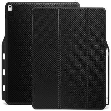 KHOMO - Funda iPad Pro 12.9 (2017 y 2015) Carcasa Dual Pen Fibra de Carbono, Ultra Delgada y Ligera con Smart Cover y Soporte para Apple Pencil, Fibra ...