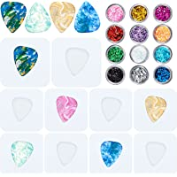10 Pieces Guitar Pick Resin Mould Geometric Triangle Pick Silicone Moulds Jewelry Pendant Epoxy Casting Moulds with 12…