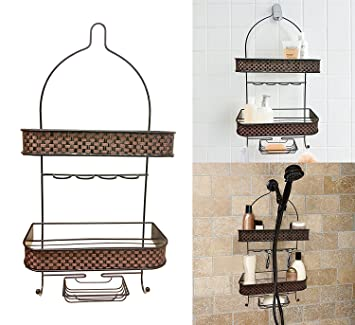 Decoración casetas para ducha con jabonera, para colgar accesorios soporte de ducha alcachofa de ducha, 2 pisos, afeitadora soporte.: Amazon.es: Hogar