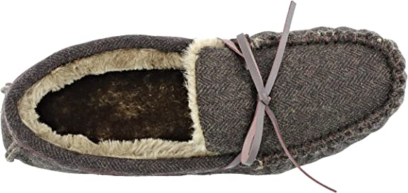 Mens Ella Arthur Tweed Luxury Faux Fur Lined Memory Foam Moccasin Slippers