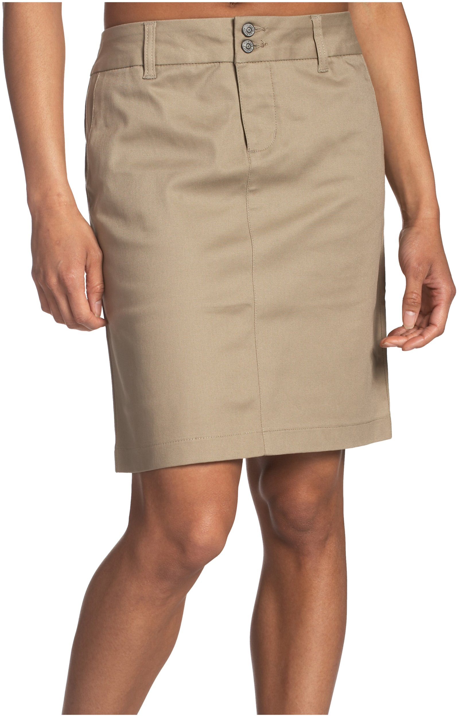 Dickies Girl Juniors 18'' 4 Pocket Double Button Skirt,Khaki,9