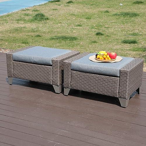 Cheap SUNSITT Patio Furniture Ottoman Outdoor Wicker Footstool outdoor ottoman for sale