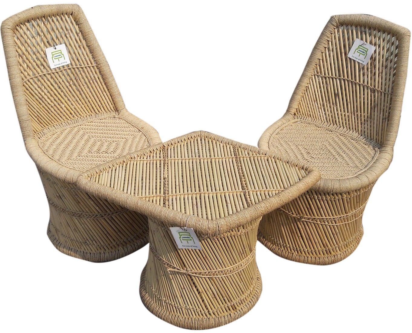Ecowoodies bamboo nettle eco friendly handicraft cane wood furniture set 2 chairs and 1 table amazon in home kitchen